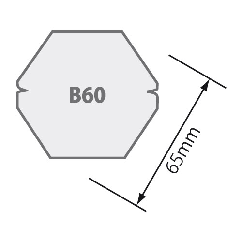 Passend für Sechskantwelle B 60 Ø 60 mm