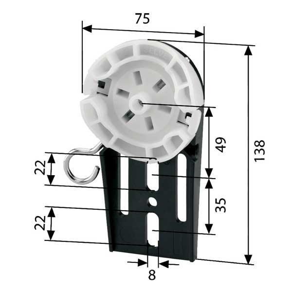 Selve Abroll-Fertigkastenlager Kunststoff (Max. 20 Nm)