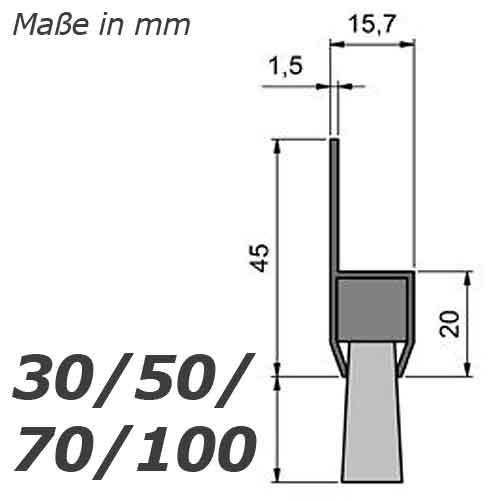 Mink b rsten streifenb rste stl2004 70mm mit alu profil eloxiert 200cm l nge b rstendichtung - Abdichten von fenstern ...