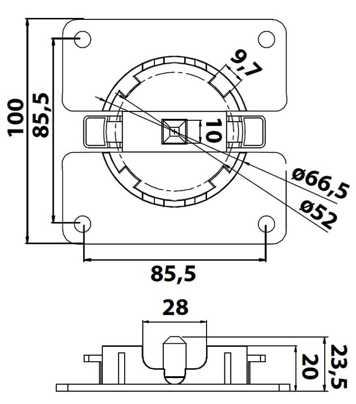Maße Universallager WL-Click / 45-100