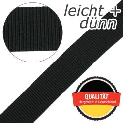 Stahl Leichtes und dünnes Gurtband PP 94 aus Polypropylen (PP), Einfassband, Breite 25 mm, Meterware, Farbe schwarz