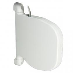 """enobi Mini-Gurtwickler """"Design"""" rund schwenkbar mit 5 m Gurt, bis 15 mm Gurt, weiß"""