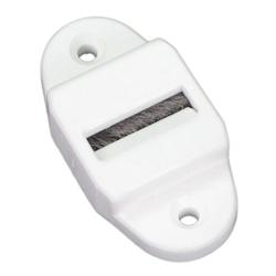 enobi Gurtführung aus Kunststoff mit Leitrolle und Bürsteneinsatz, senkrecht, bis 23mm Gurt, weiß
