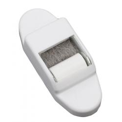 Selve Mini-Gurtführung mit Leitrolle und Bürsteneinsatz, senkrecht, bis 15 mm Gurt, weiß