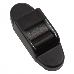 Selve Mini-Gurtführung mit Leitrolle und Bürsteneinsatz, senkrecht, bis 15 mm Gurt, braun