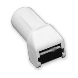 enobi Mini-Steckleitrolle mit Leitrolle und Bürseneinsatz, bis 15 mm Gurt, weiß