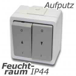 - Doppel-Wipptaster wassergeschützt ohne Rast, aufputz, grau