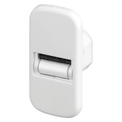 Selve Mini-Gurtführung für 20 mm Bohrung mit Leitrolle und Bürsteneinsatz, flach, bis 15 mm Gurt, weiß