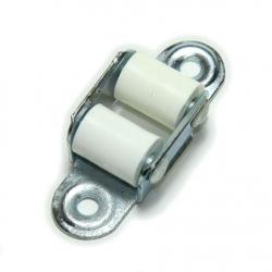 enobi Mini-Leitrolle, verzinkt, bis 15 mm Gurt, weiße Rollen