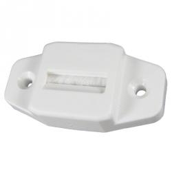 enobi Gurtführung aus Kunststoff mit Leitrolle und Bürsteneinsatz, waagerecht, bis 23mm Gurt, weiß