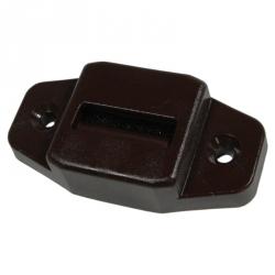 enobi Gurtführung aus Kunststoff mit Leitrolle und Bürsteneinsatz, waagerecht, bis 23mm Gurt, braun