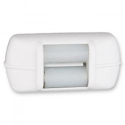 enobi Mini-Gurtführung Horizontal mit Leitrolle und Bürstendichtung, bis 15 mm Gurt, weiß