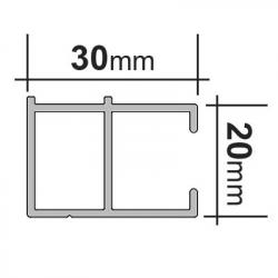 enobi Alu-Führungsschiene HTF 20 x 30 mm für Senkrechtmarkisen, Montage auf der Laibung, weiß lackiert