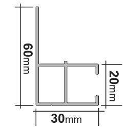 enobi Alu-Führungsschiene LHTF 60 x 30 mm für Senkrechtmarkisen, mit Montageschenkel, Montage in der Laibung, weiß lackiert