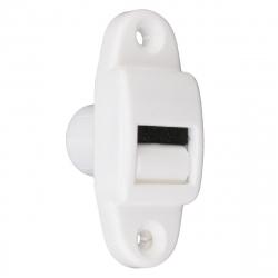 enobi Mini-Gurtführung PRT 14 mit Leitrolle und Bürsteneinsatz, senkrecht, bis 15 mm Gurt, für Bohrung Ø 18 mm, weiß