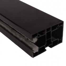 enobi Rollladen-Führungsschiene PP 60/17 aus Kunststoff, 60 x 40 mm, mit Bürstendichtung, dunkelbraun
