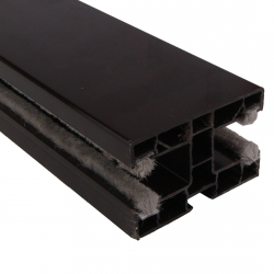 enobi Doppel-Rollladen-Führungsschiene PPD-P 60/17 aus Kunststoff, 60 x 40 mm, mit Bürstendichtung, dunkelbraun ; Mittelführung
