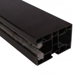 enobi Mini-Rollladen-Führungsschiene PP 60/12 aus Kunststoff, 60 x 40 mm, mit Bürstendichtung, dunkelbraun
