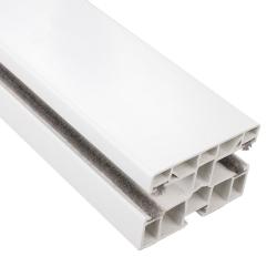 enobi Mini-Doppel-Rollladen-Führungsschiene PPD-P 60/12 aus Kunststoff, 60 x 40 mm, mit Bürstendichtung, weiß ; Mittelführung