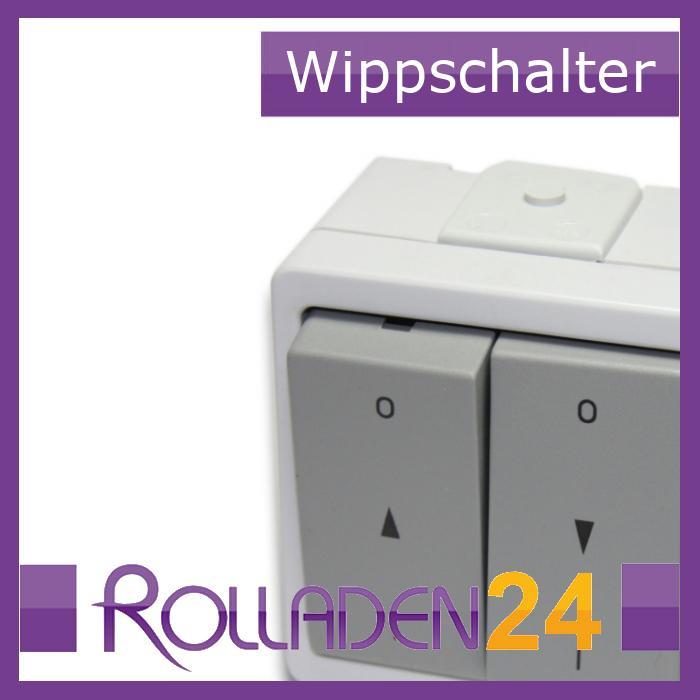 Doppel-Wippschalter wassergeschützt mit Rast, aufputz, grau